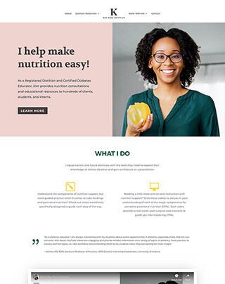 Dietitian website design
